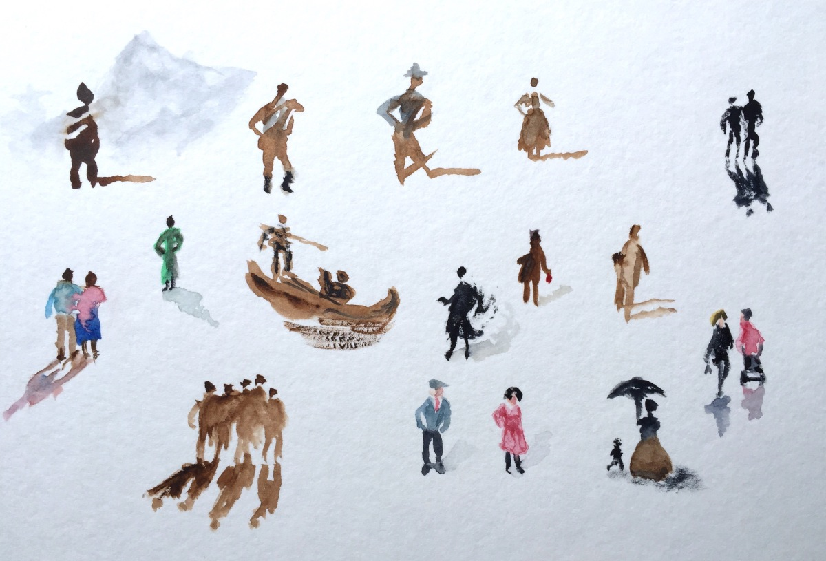 Tiny People In Watercolor