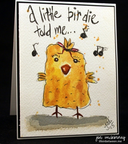 Little Birdie Doodlewash Card by Jodi McKinney