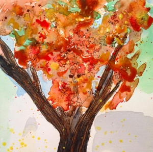 Fall Tree Doodlewash by Eileen McKenna