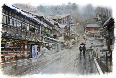 Heavy snow in Kurama by Ichsan Harja (doodlewash)