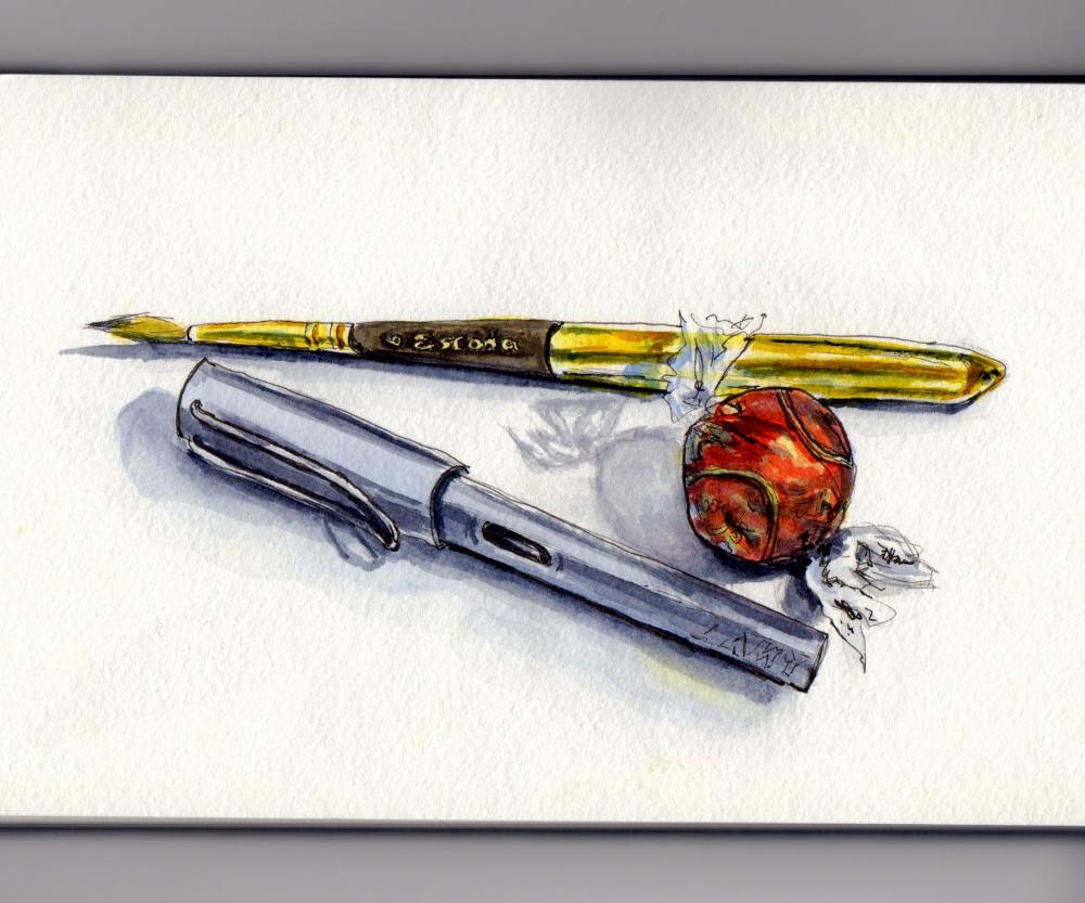 Escoda Brush and Lamy Safari Pen