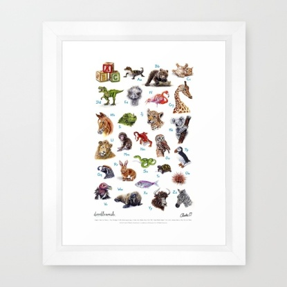 Doodlewash ABC Animals Framed Print by Charlie O'Shields