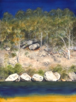 Doodlewash by Jane Blundell - Boyd's Rock Quartet, Shoalhaven River. Watercolour on full sheet Arches 300gsm paper.