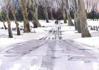 Cemetery Road by Shari Blaukopf - Watercolor painting and urban sketching of snow in a park with trees and figures - Doodlewash