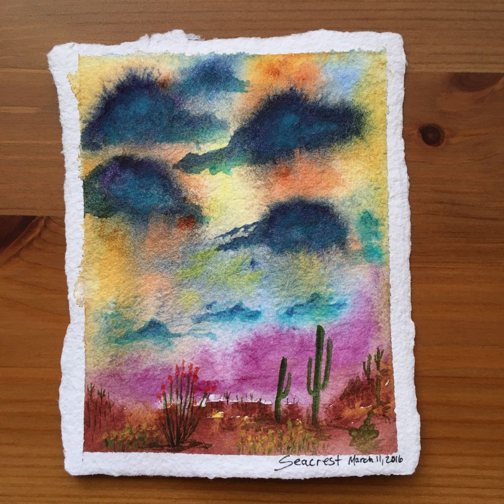 Desert painting doodlewash by Jessica Seacrest