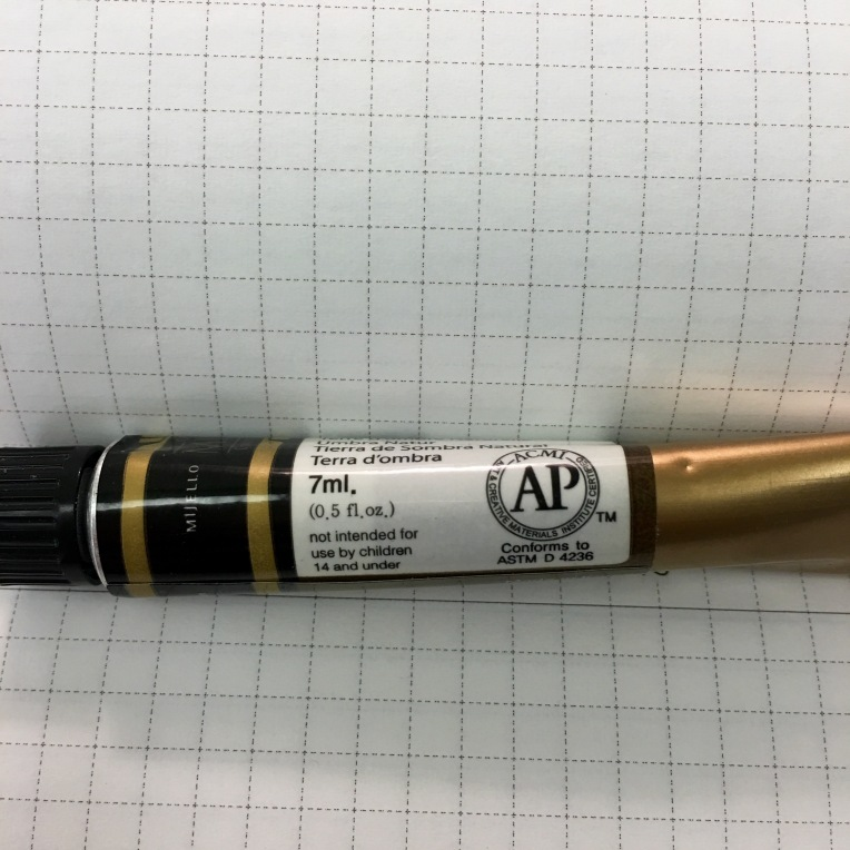 Tube of Mission Gold watercolor showing 7ml and .5oz