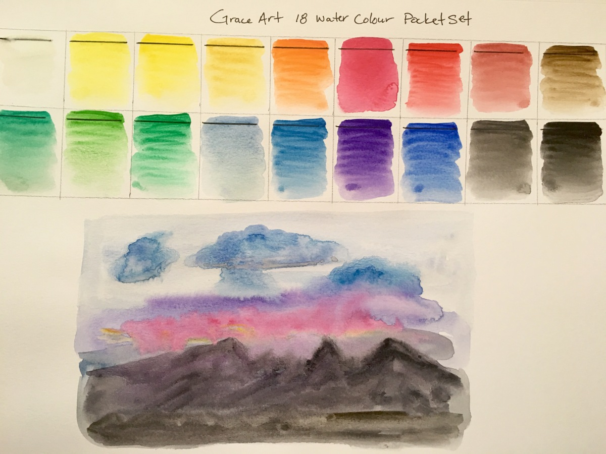 Grace Art Model 118 18-piece Water Colors Field Sketch Set with Brush swatch and mountain painting