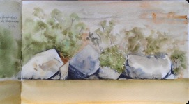 Doodlewash by Jane Blundell - Reference sketch for the large full sheet watercolour painting 'Boyd's Rock Quartet, Shoalhaven River' - watercolor
