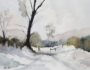 Doodlewash by John Haywood - landscape with tree in snow watercolor painting