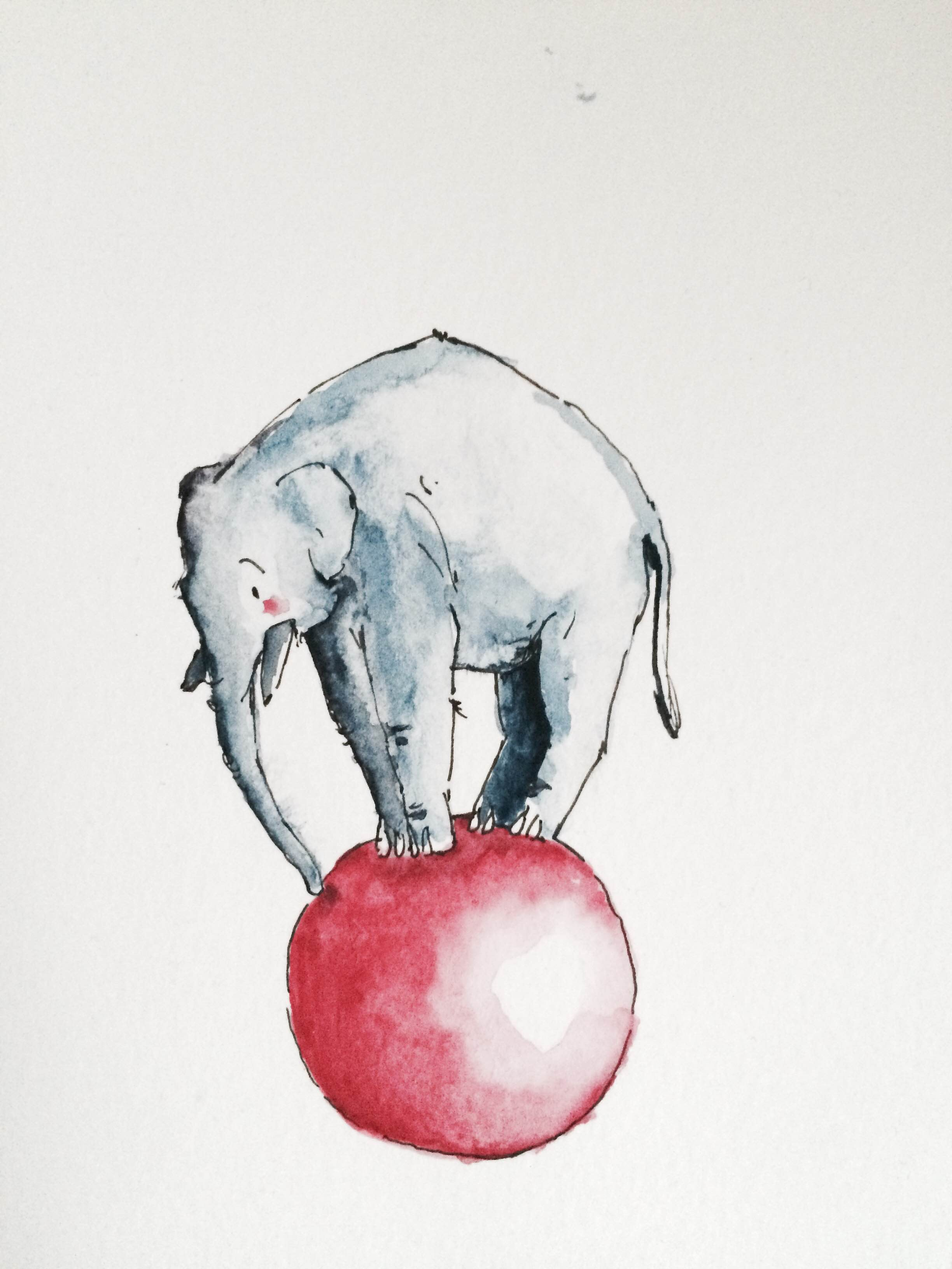 Doodlewash by Luke Scriven - watercolor sketch and children's illustration of elephant standing on red ball
