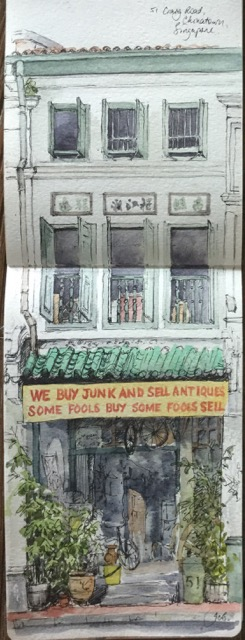 Doodlewash by Jane Blundell - 51 Craig Road, Singapore. Watercolour and black in A5 watercolour sketchbook.