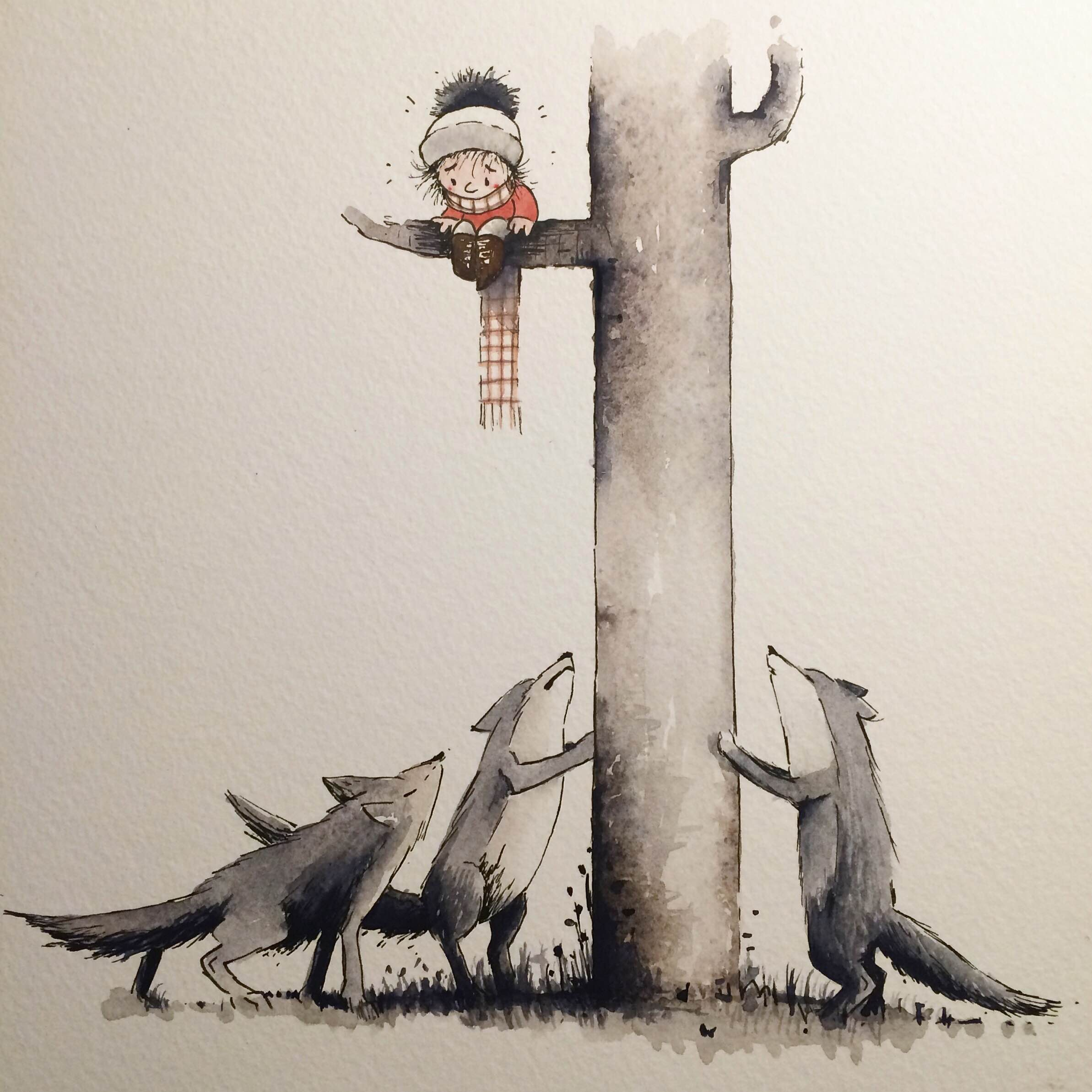 Doodlewash by Luke Scriven - watercolor sketch and children's illustration of boy run up a tree by wolves