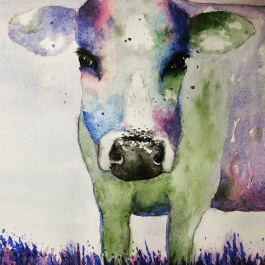 Doodlewash by Pat Saez - watercolor sketch and painting of cow - cow's face in close up abstract