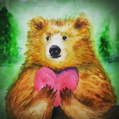 Doodlewash by Pat Saez - watercolor sketch and painting of bear holding a pink heart