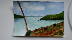 Doodlewash by Rob Nopola beach scene in watercolor sketchbook waterscape