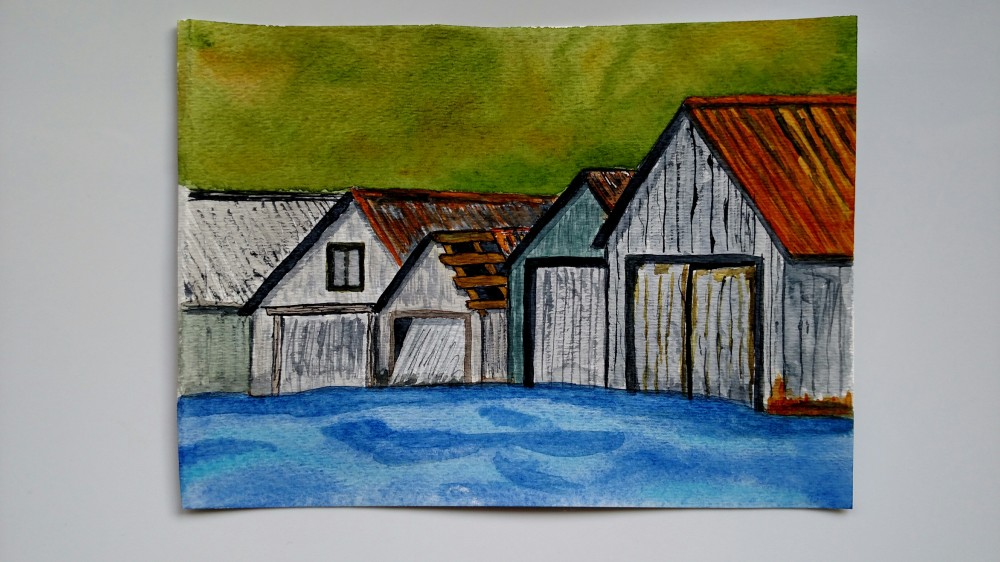 Doodlewash by Rob Nopola wooden buildings in watercolor
