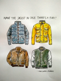Want the jacket in case there's a fire? - Doodlewash by Marian Sofia watercolor sketch of four jackets in different colors