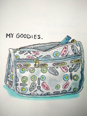 My Goodies - Doodlewash by Marian Sofia watercolor sketch of zipper bag with heart design