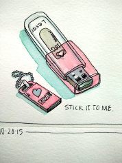 Stick it to Me - Doodlewash by Marian Sofia watercolor sketch of USB jump drive