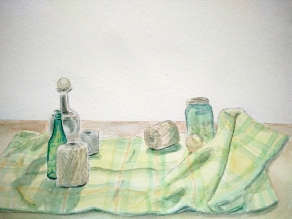 Still Life - Doodlewash by Marian Sofia watercolor sketch of still life with glass bottles