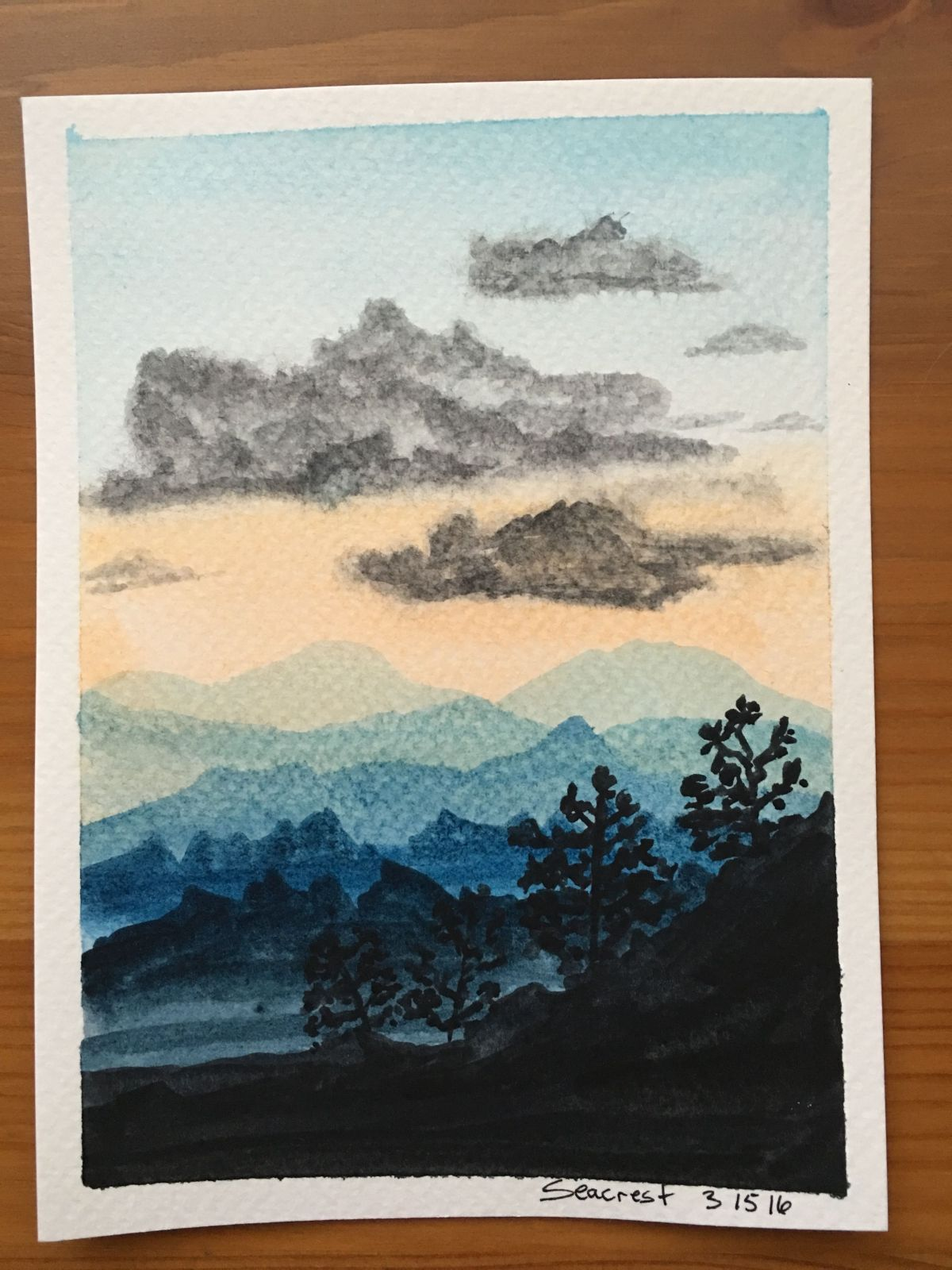Blueridge Moutan painting with Koi watercolors, clouds, mountains