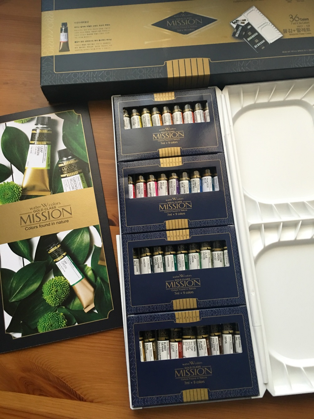 Mission Gold packaging, brochure, tubes of watercolor paint and palette