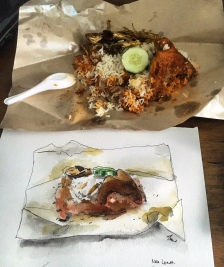 Doodlewash by Siew Tin nasi lemak watercolor sketch