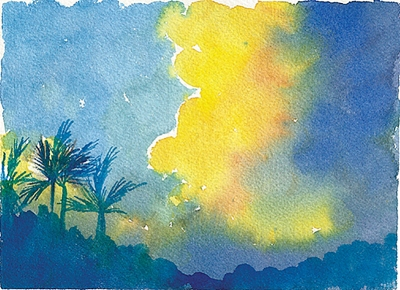Doodlewash by Meagan Healy - abstract watercolor painting of sunset in Hawaii
