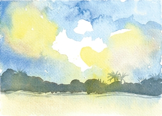 Doodlewash by Meagan Healy - abstract watercolor painting of waves and sunset in Hawaii