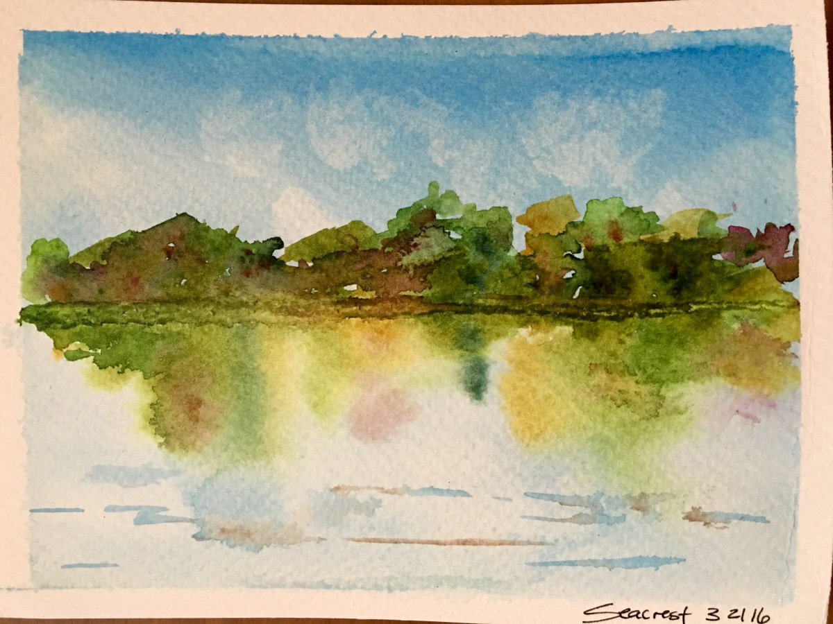 Trees reflected over water watercolor, aquarelle painting with Mission Gold Watercolors by Jessica Seacrest