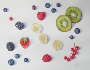 Selection of berries and fresh fruit painted in watercolour by Shevaun Doherty (Doodlewash)