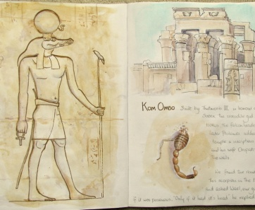 Sketchbook painting of Kom Ombo Temple, Egypt with a scorpions tail and hieroglyphics of the Crocodile God Sobek, by artist Shevaun Doherty (Doodlewash)