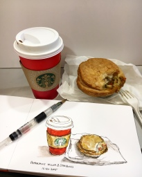 Doodlewash by Siew Tin Starbucks watercolor sketch food illustrator