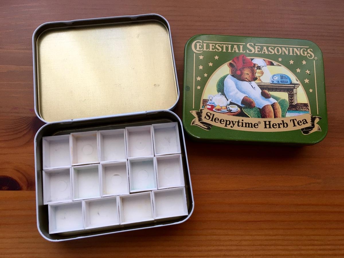 Celestial Seasonings tea tins with 14 empty watercolor half pans