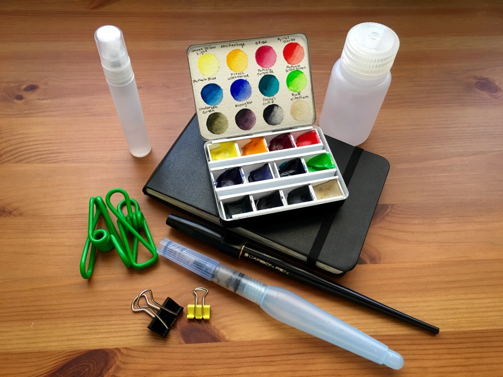 Whiskey Painters travel palette with Nalgene bottles Moleskine watercolor spray bottle waterbrush clips Platinum Carbon fountain pen