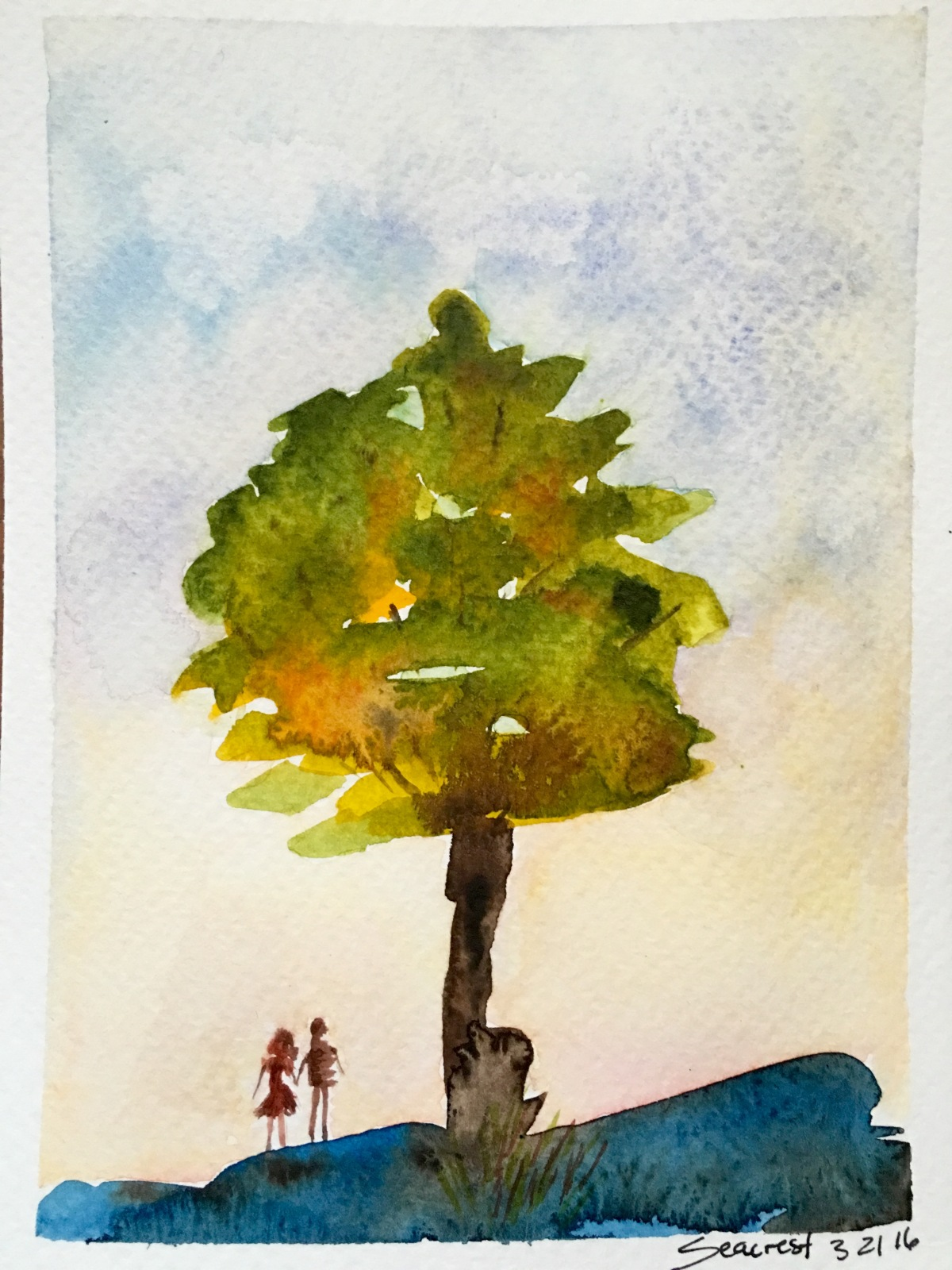 Tree and figures on hill painted with Mission Gold watercolors by Jessica Seacrest
