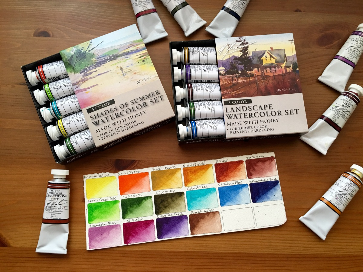 Tubes of M. Graham watercolor paint Shades of Summer and Landscape on Doodlewash