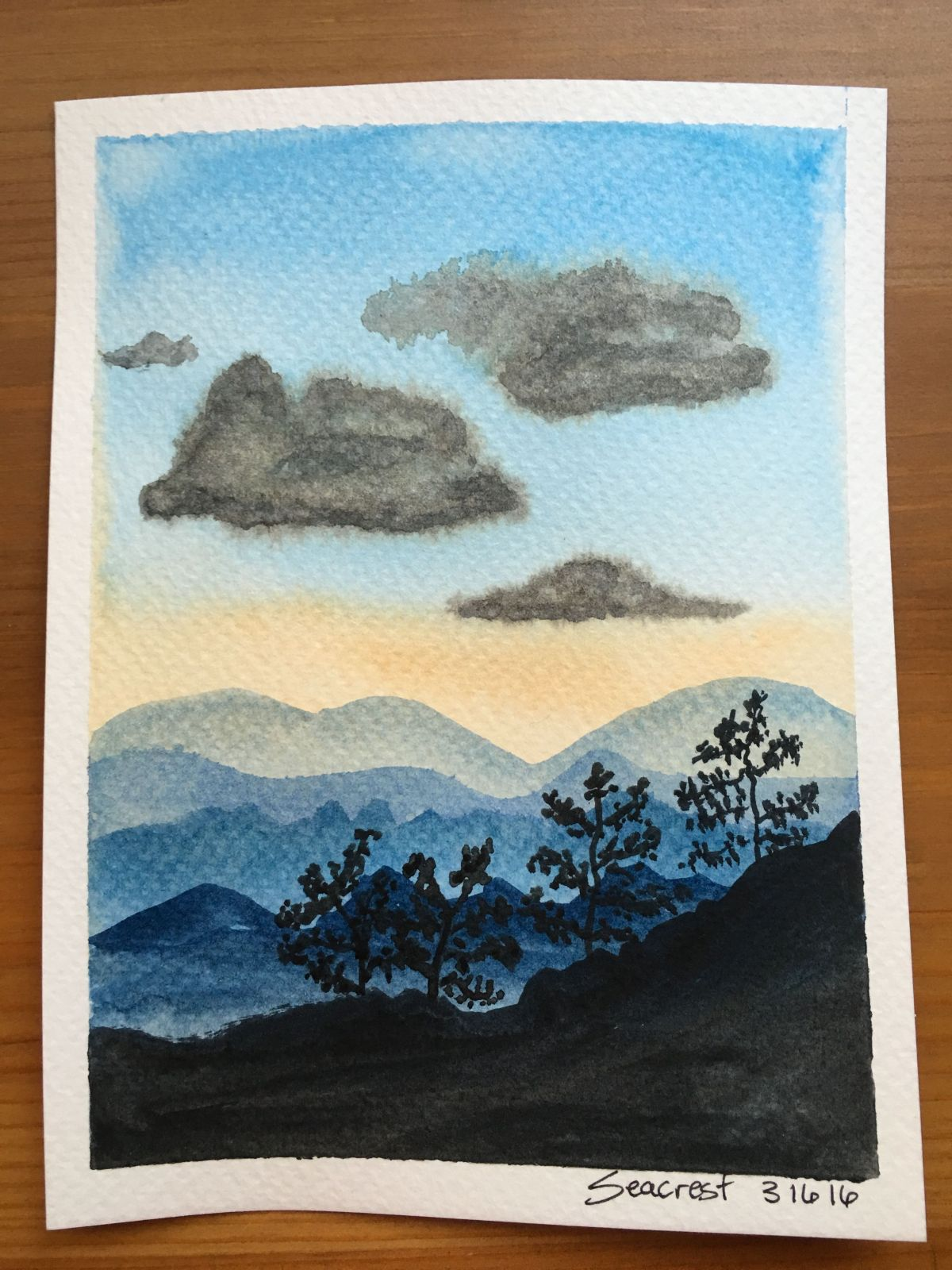 Blueridge Mountains painting with Windsor and Newton Cotman Pocket Box set, mountains, clouds