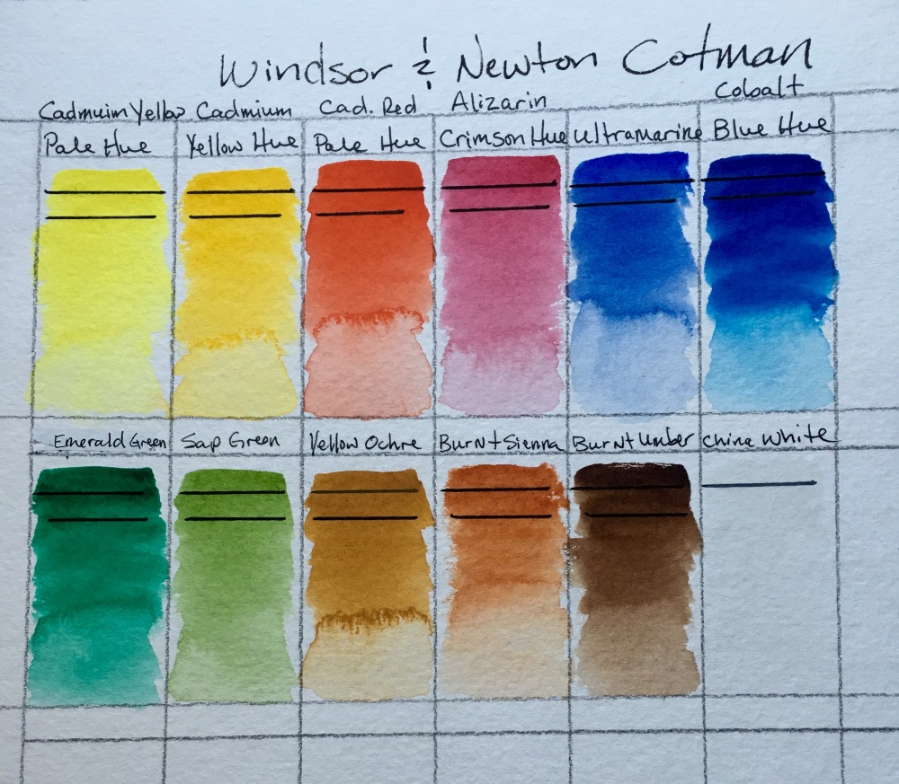 Windsor and Newton Cotman watercolor swatch sample to show transparency