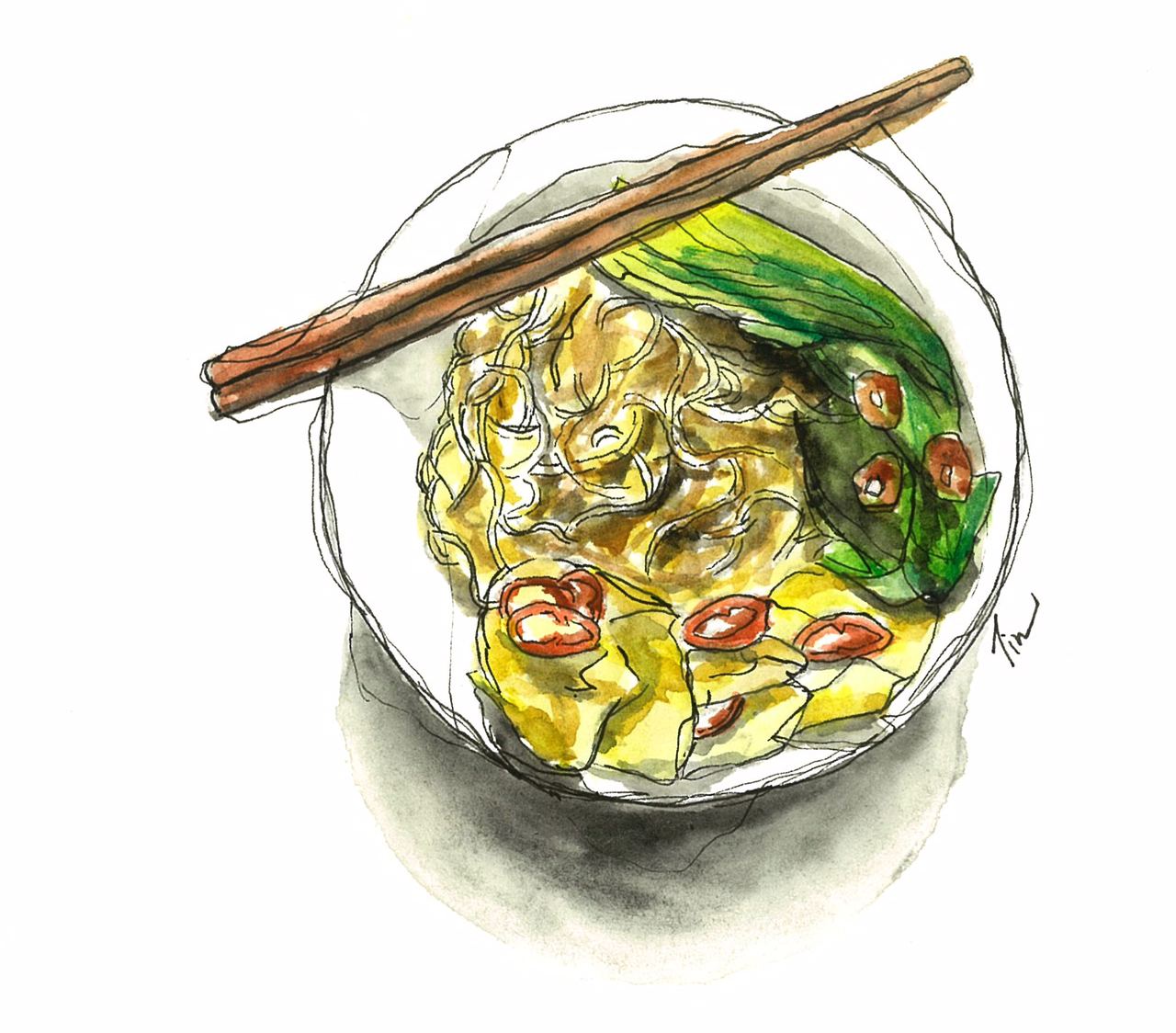 Doodlewash by Siew Tin Wonton Mee watercolor sketch food illustrator