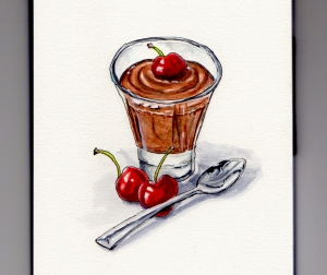 National Chocolate Mousse Day - Doodlewash, watercolor sketching and painting of dark chocolate mousse with cherries