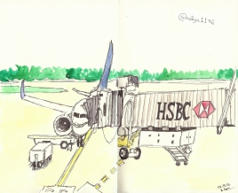 Doodlewash by Nadya Levitova - watercolor sketch of plane on runway at the airport HSBC