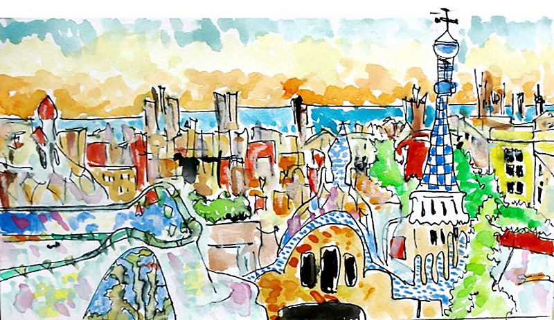 City at Sunset Doodlewash by Virginia González