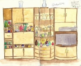 Doodlewash by Nadya Levitova - watercolor sketch of living room entertainment center, illustration