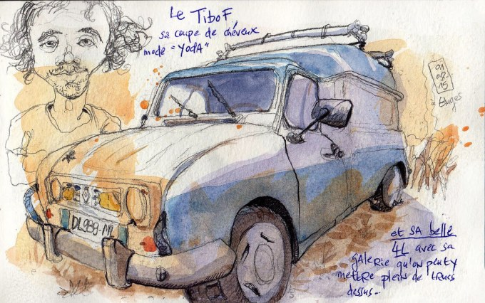 Doodlewash and watercolor sketch of car in France by Tazab