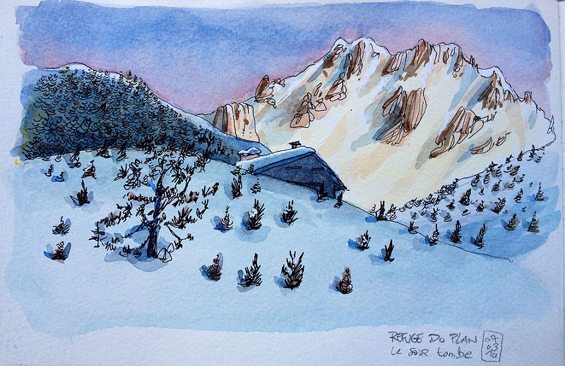 Doodlewash and watercolor sketch of snowy mountain in France by Tazab