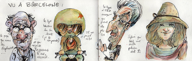 Doodlewash and watercolor sketch of various characters in France by Tazab