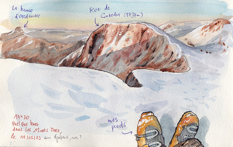 Doodlewash and watercolor sketch on snowy mountain top in France by Tazab