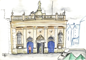 By Hannah Ridout - Doodlewash and watercolor of building with people