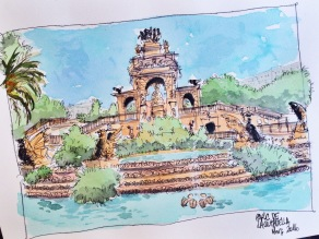 Fountain doodlewash and watercolor by Urban Sketcher Virginia González